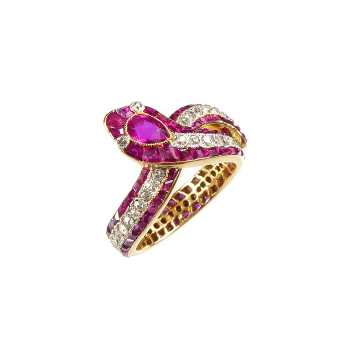 Early 20th century ruby and diamond snake eternity ring